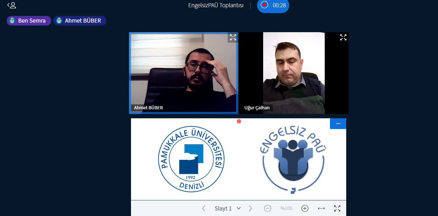 BigBlueButton Toplantısı, iki adam altta üniversitesi logosu